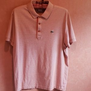 Men's LACOSTE Golf shirt coral/ cream strips